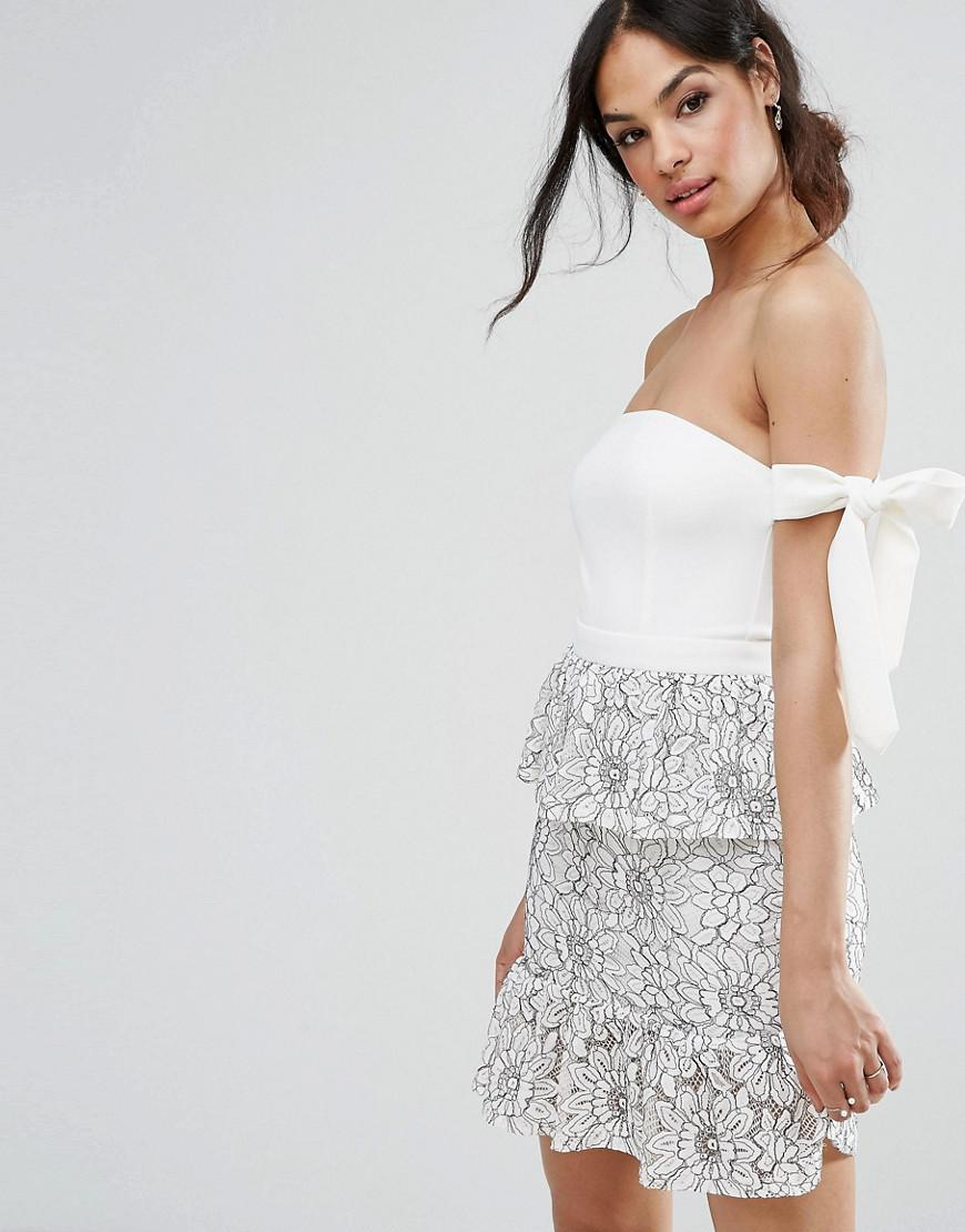 Missguided Tie Shoulder Lace Peplum Dress in White - Lyst 265f4ff0c