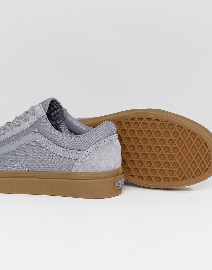 grey suede old skool vans gum sole