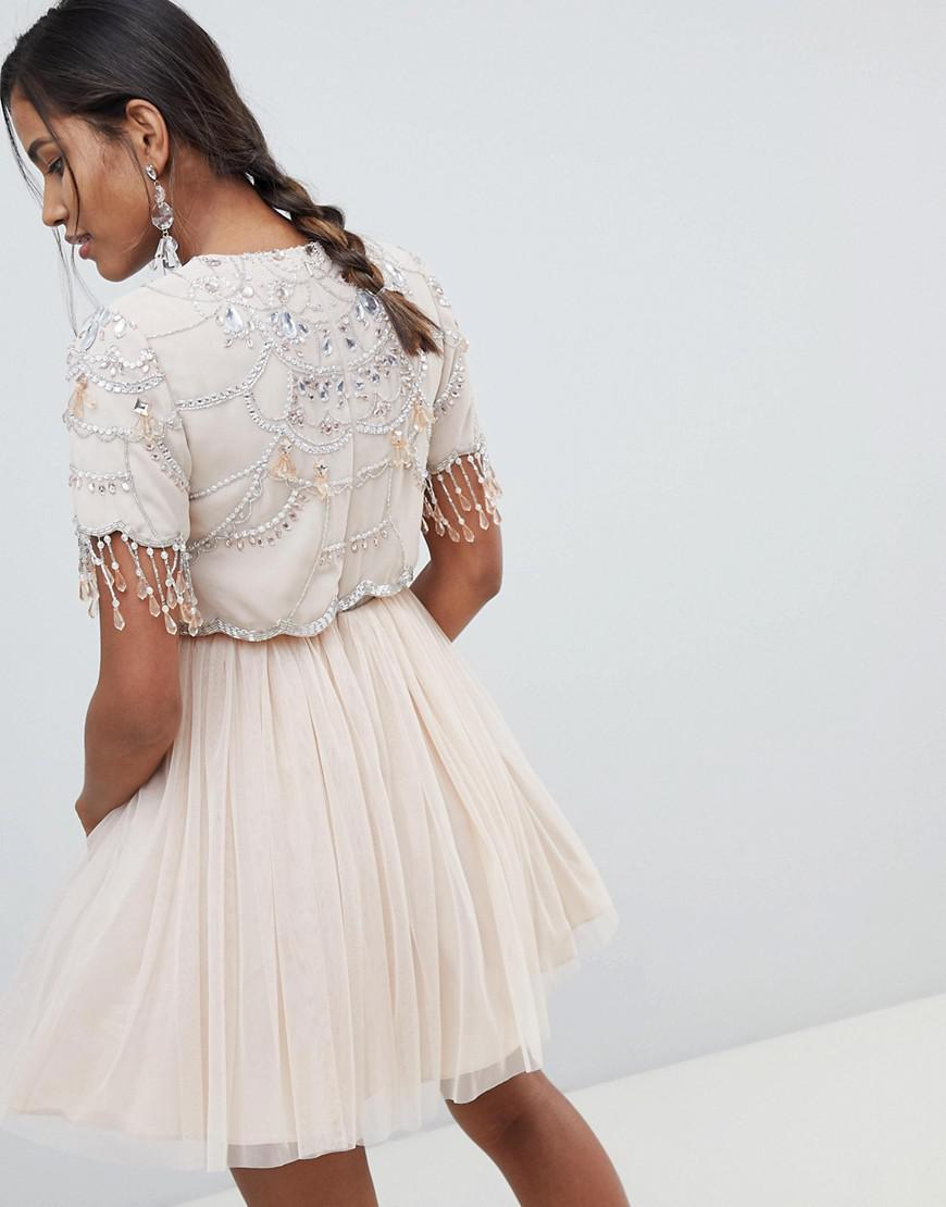 2754c032a7f4 ASOS Crop Top Fringe Embellishment Tulle Mini Dress in Natural - Lyst
