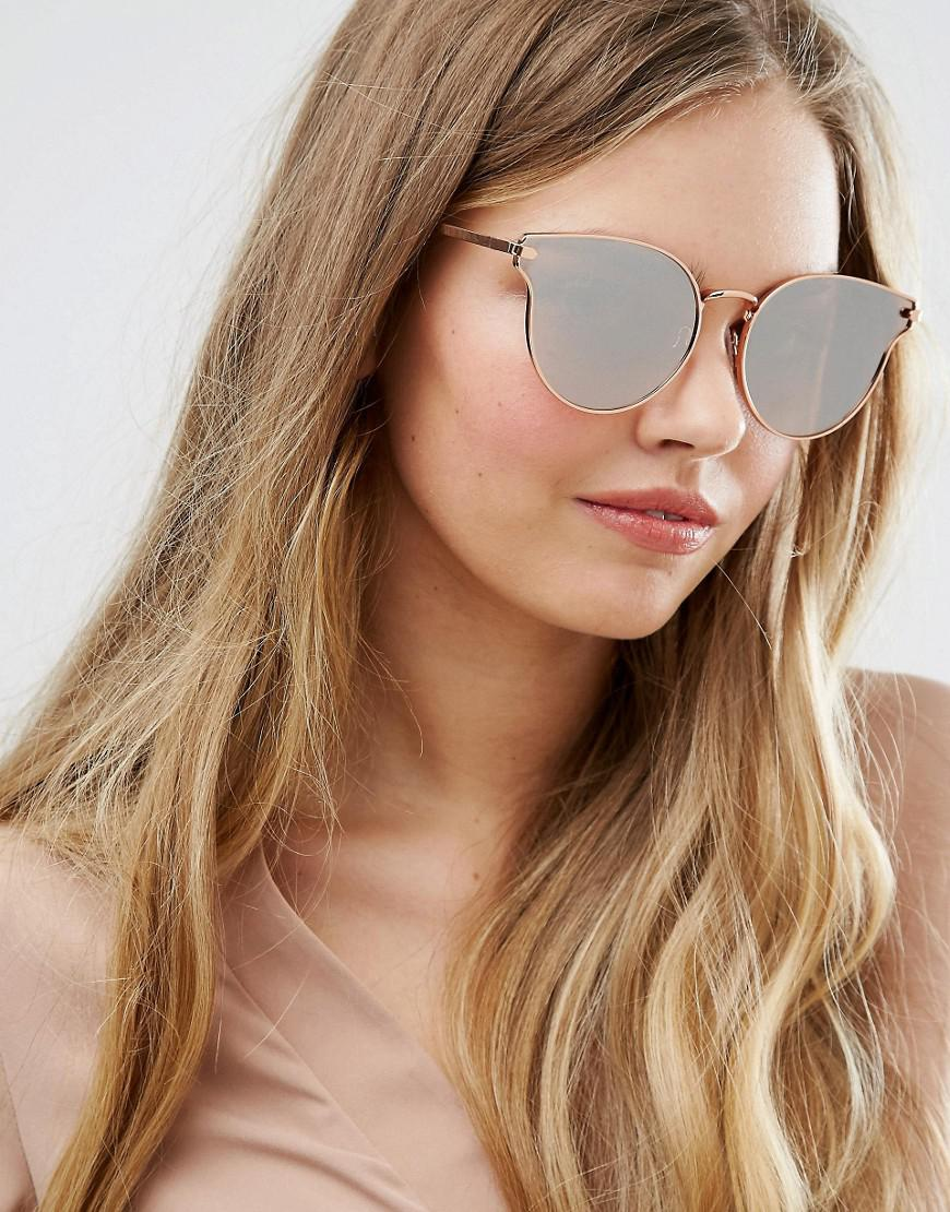 461a6ad21a Pieces Milli Rose Gold Mirror Cat Eye Sunglasses in Metallic - Lyst