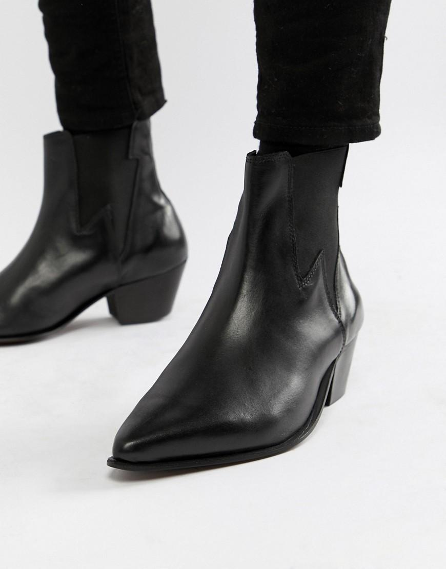 c05fd710db85 Lyst - ASOS Cuban Heel Western Boots In Black Leather With Lightning ...