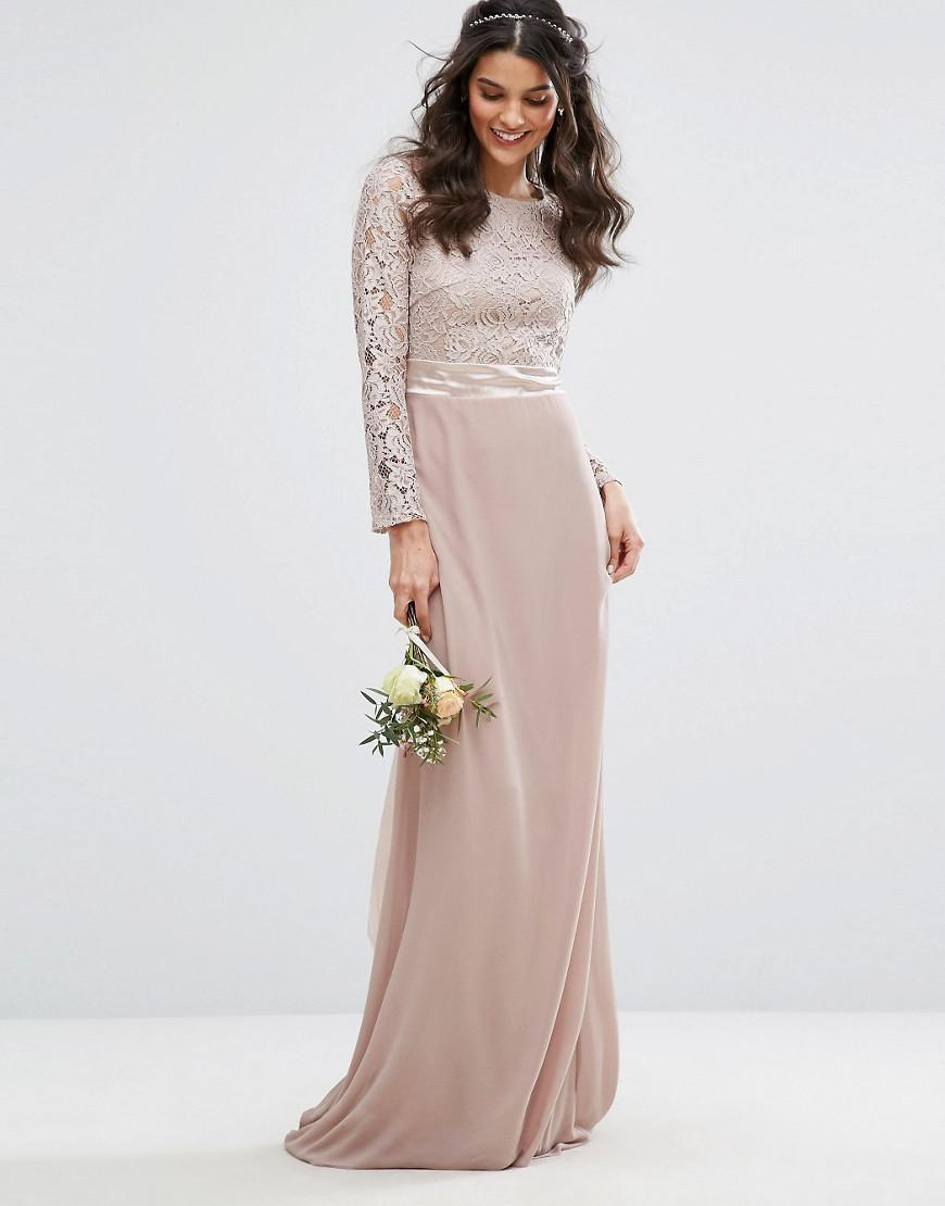 98825824df5c TFNC London Lace Maxi Bridesmaid Dress With Bow Back in Pink - Lyst
