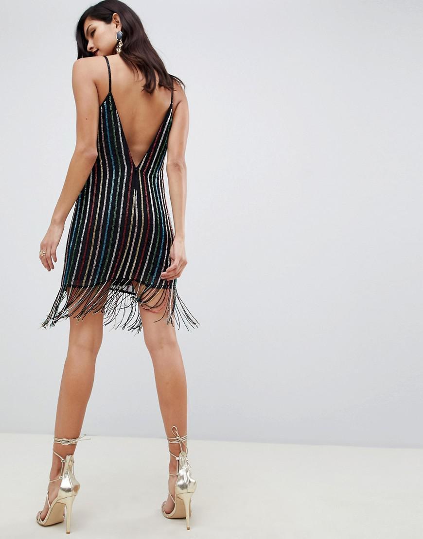 7a5e11a5 ASOS Stripe Fringe Sequin Mini Slip Dress in Black - Lyst