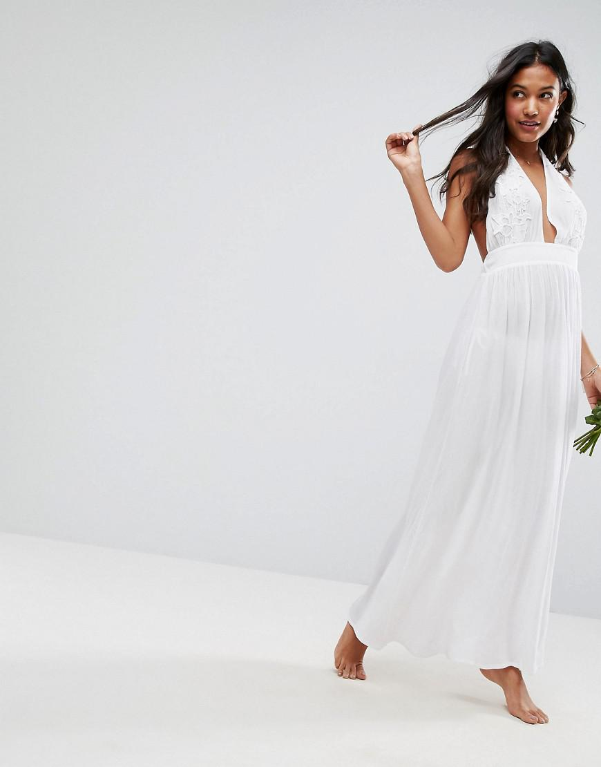 cdbe3b11de ASOS Bridal Beach Maxi Dress in White - Lyst
