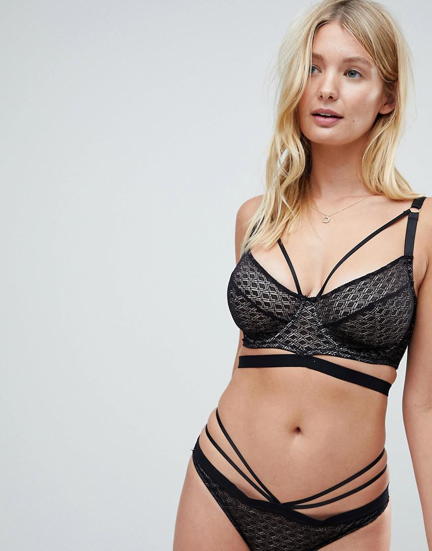 c19689560e764 Lyst - ASOS Asos Fuller Bust Gianna Diamond Lace Underwire Bra in Black