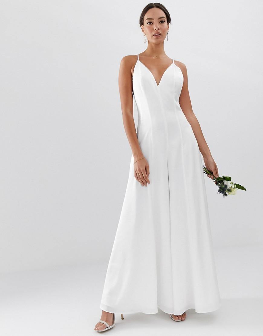 849bf500d0c ASOS Plunge Cami Wide Leg Wedding Jumpsuit In Satin in White - Lyst