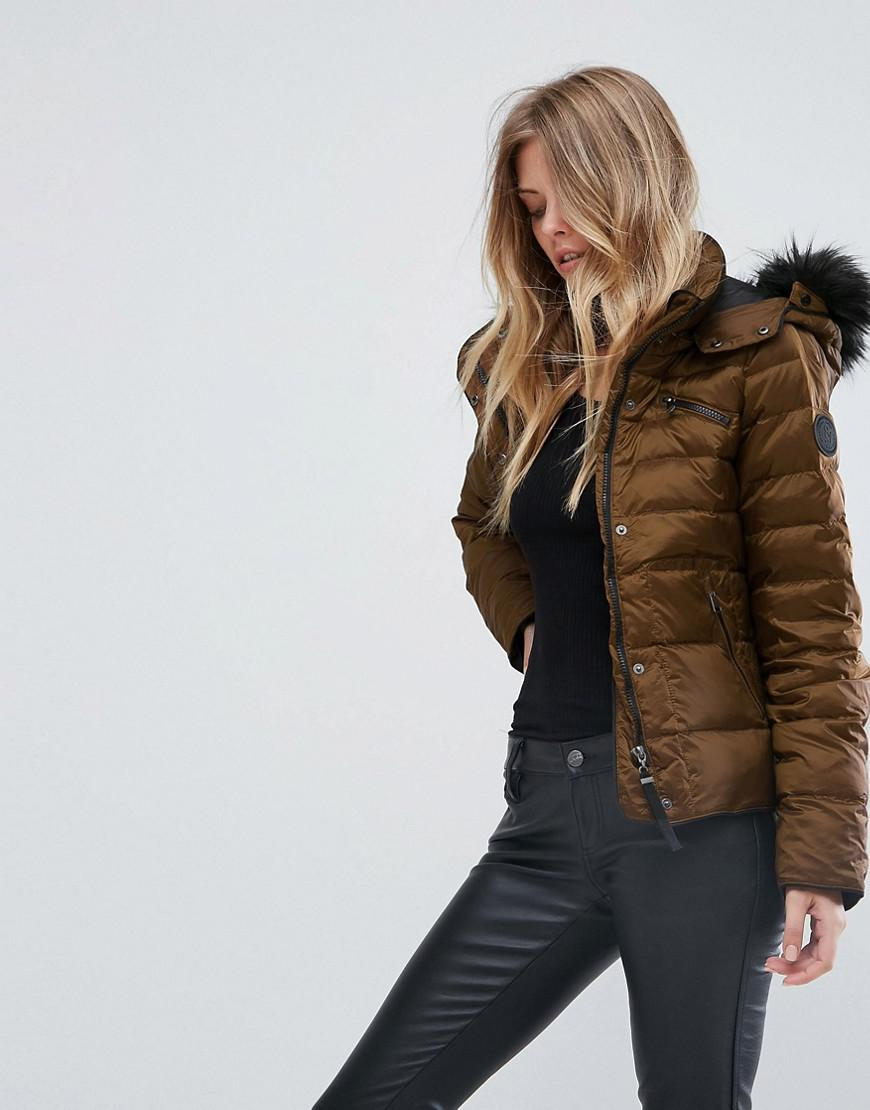 lyst vero moda down padded jacket with faux fur collar in brown. Black Bedroom Furniture Sets. Home Design Ideas