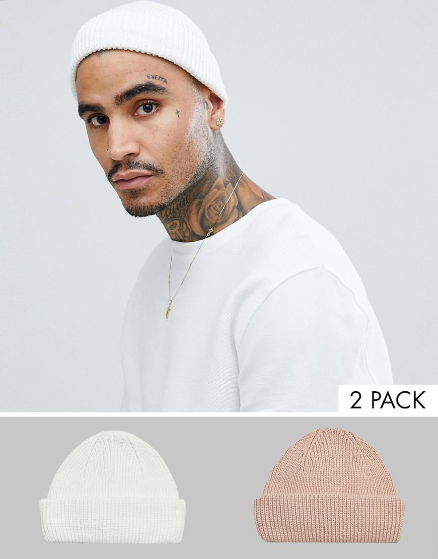 7113dd407d3 ASOS. Men s 2 Pack Mini Fisherman Beanie In White   Pink Recycled Polyester  Save