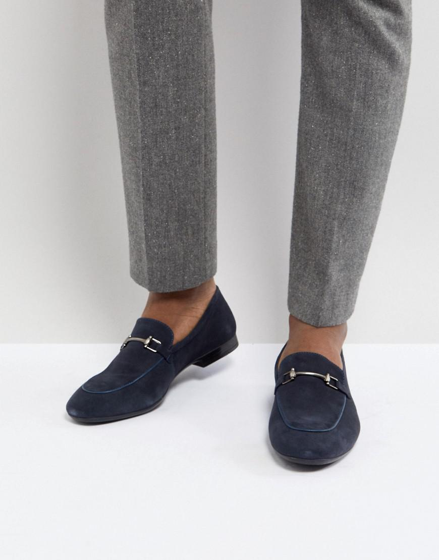 Dune Bar Loafers In Navy Suede 8WvtSly