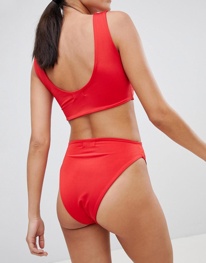 6e6710d953fd6 PrettyLittleThing High Leg Bikini Brief in Red - Lyst