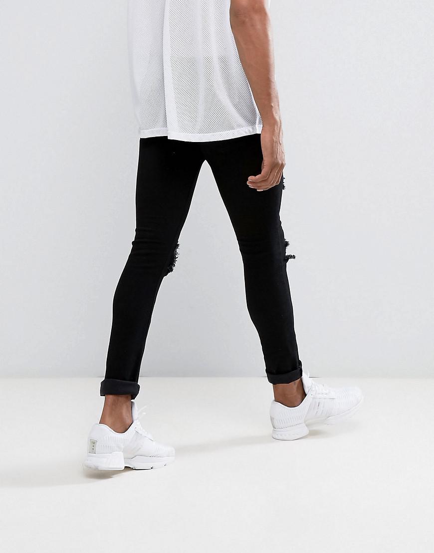 de3250e7dd4 Lyst - Mennace Super Skinny Jeans In Black With Distressing in Black ...