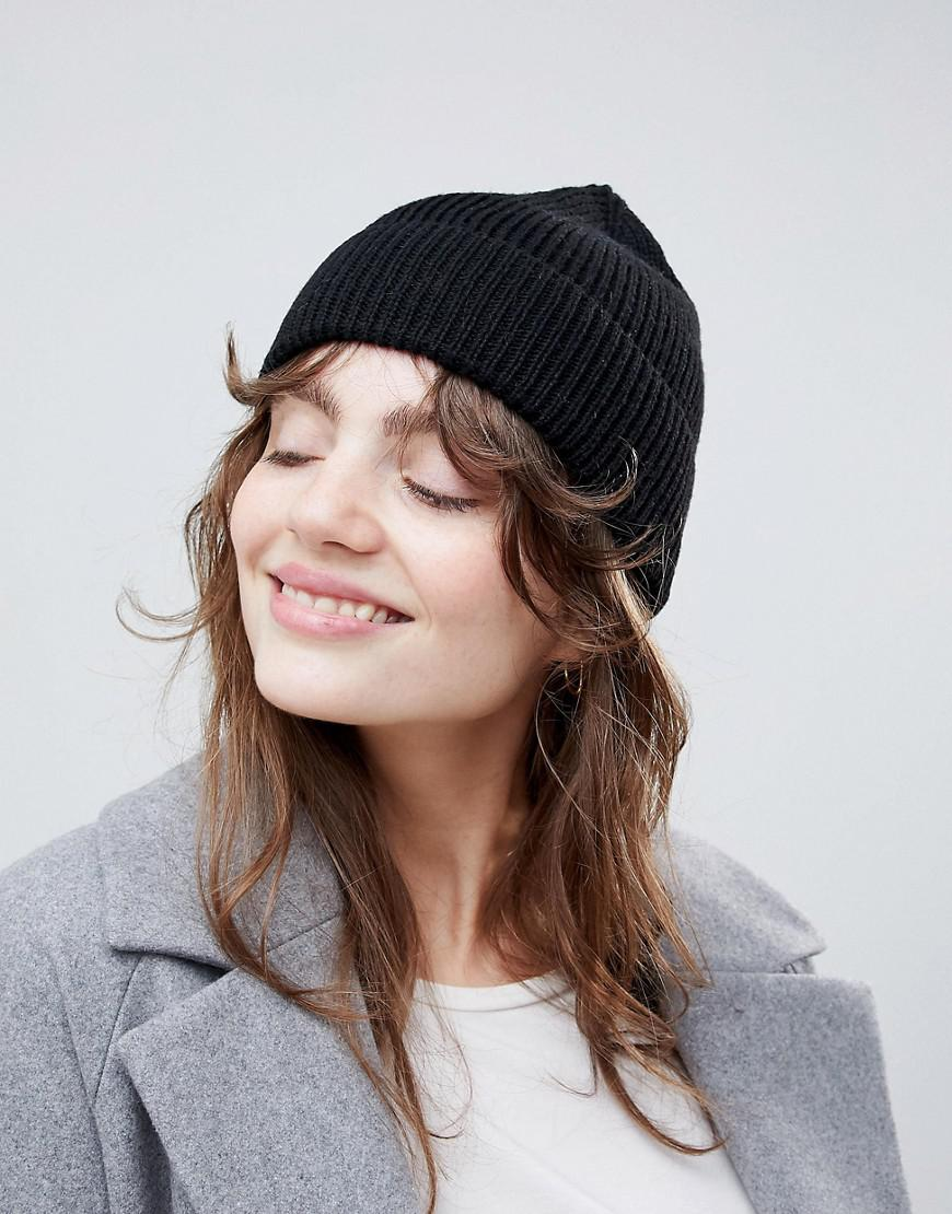 6624e12c911e Lyst - ASOS Fisherman Rib Beanie In Recycled Polyester in Black