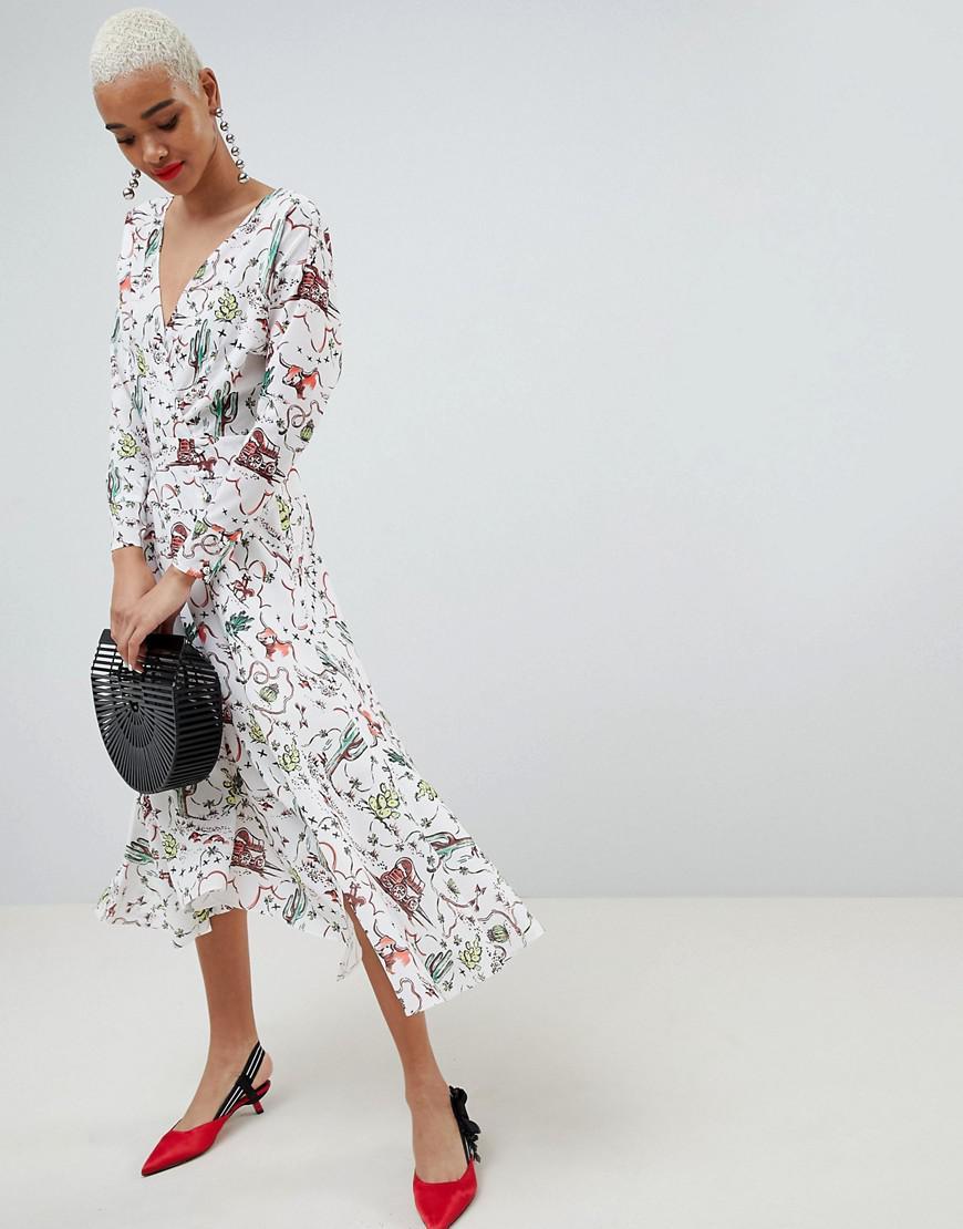 ASOS. Women s Asos Cactus Print Wrap Midi Dress 02a9f8042