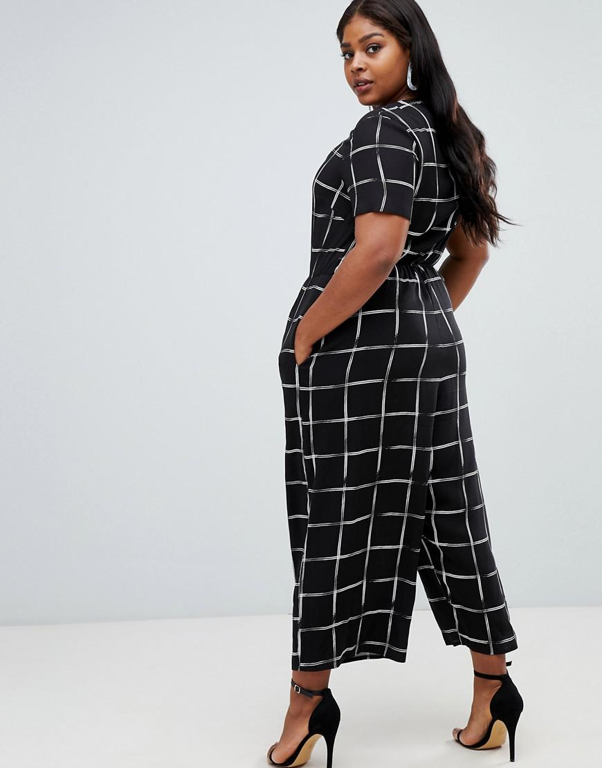 e05aacc640fe Lyst - ASOS Asos Design Curve Check Print Jumpsuit With Short Sleeve in  Black