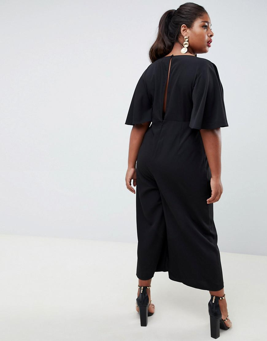b1b7e8f47a2a Lyst - ASOS Asos Design Curve Tea Jumpsuit With Empire Seam And Flutter  Sleeve in Black