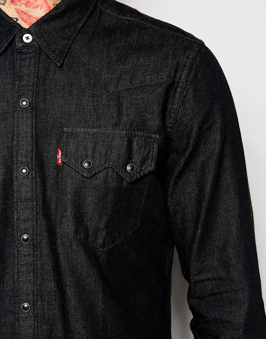 7030b9c1 Levi's Levi's Denim Shirt Sawtooth Western Slim Fit Black in Black ...