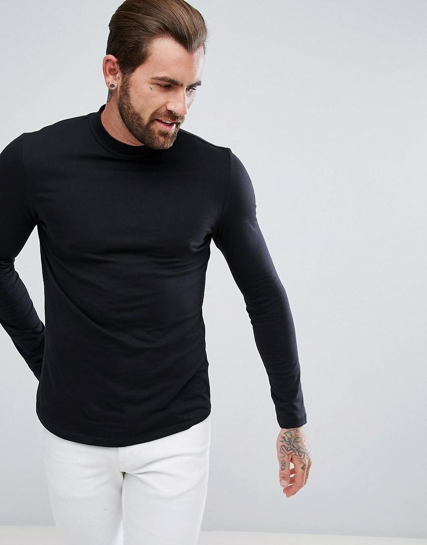 c6455368 ASOS - Long Sleeve T-shirt With Turtle Neck And Curve Hem In Black for