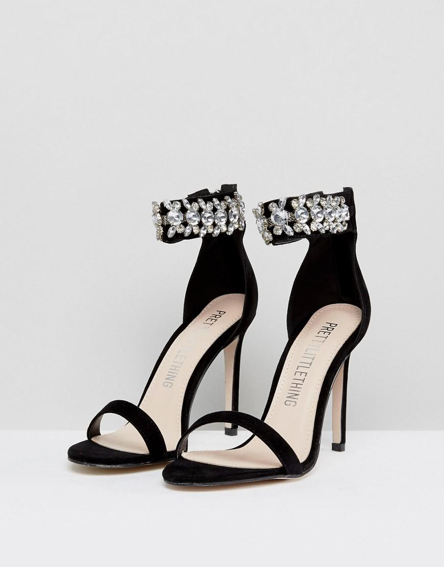 e1dada2c32738d PrettyLittleThing Jewelled Heeled Sandals in Black - Lyst