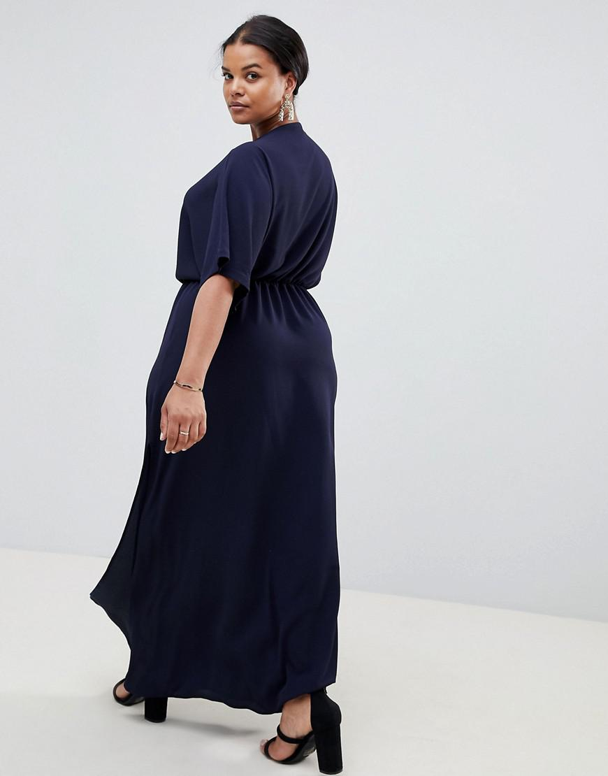 01313296a8 John Zack Knot Front Maxi Dress In Navy in Blue - Lyst