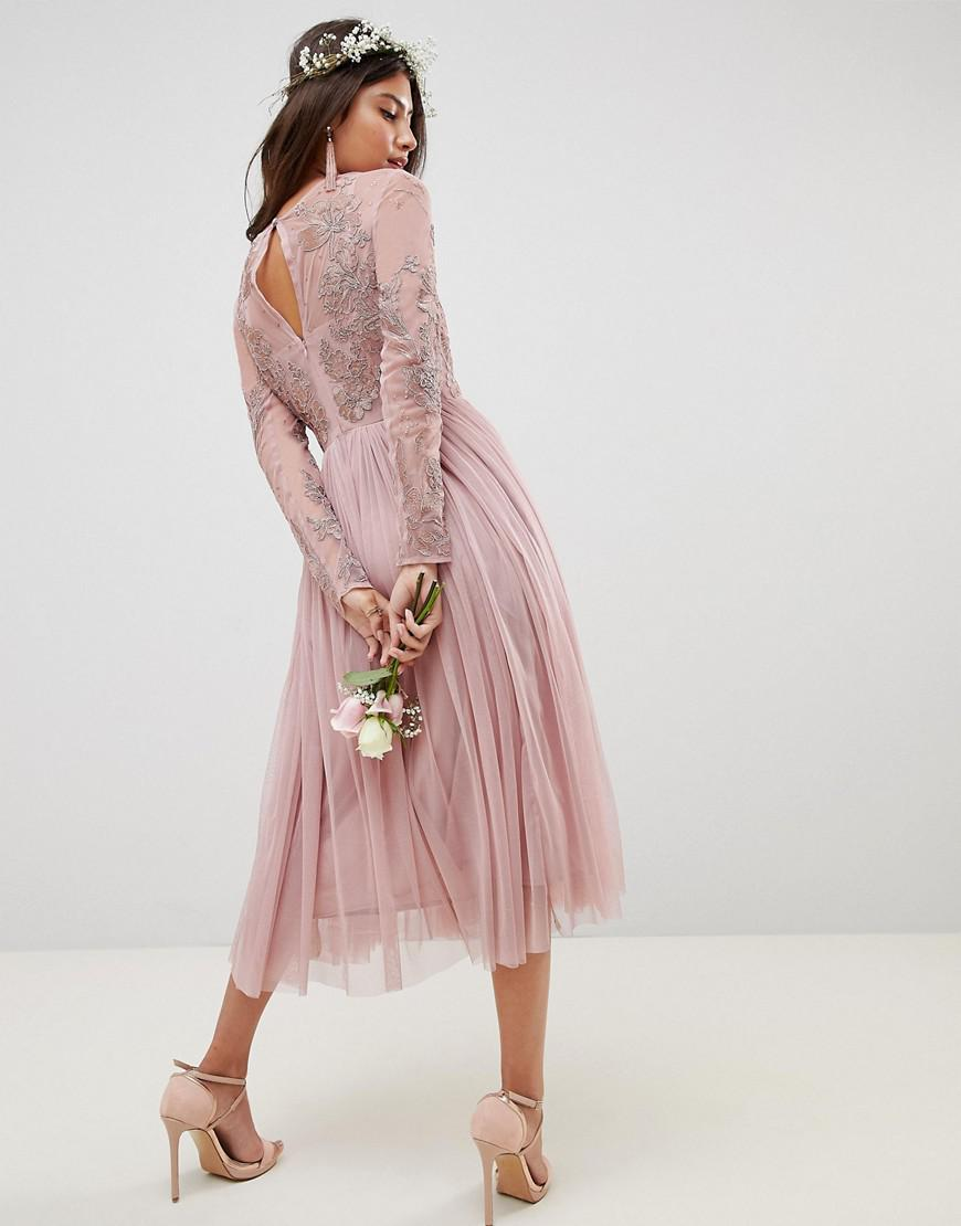 e626ef363 Asos Design Bridesmaid Embroidered Mesh Long Sleeve Maxi Dress