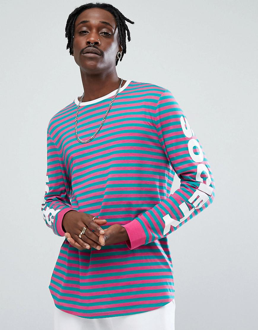Lyst asos striped longline long sleeve t shirt with for Mens striped long sleeve t shirt