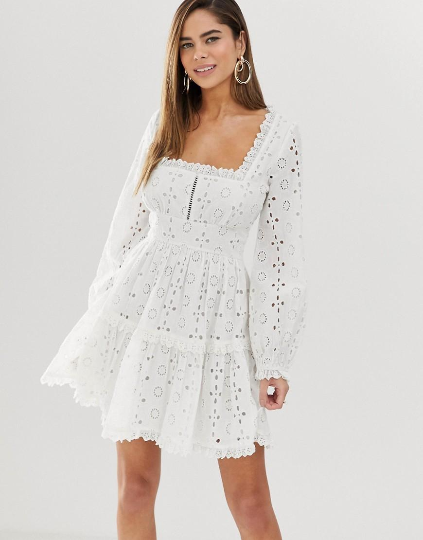 0221375304 Lyst - ASOS Broderie Square Neck Mini Skater Dress With Lace Trims ...