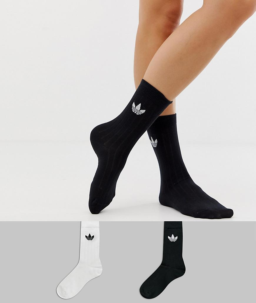 sale retailer 7679f 4ed1f adidas Originals. Womens Black 2 Pack Crew Socks