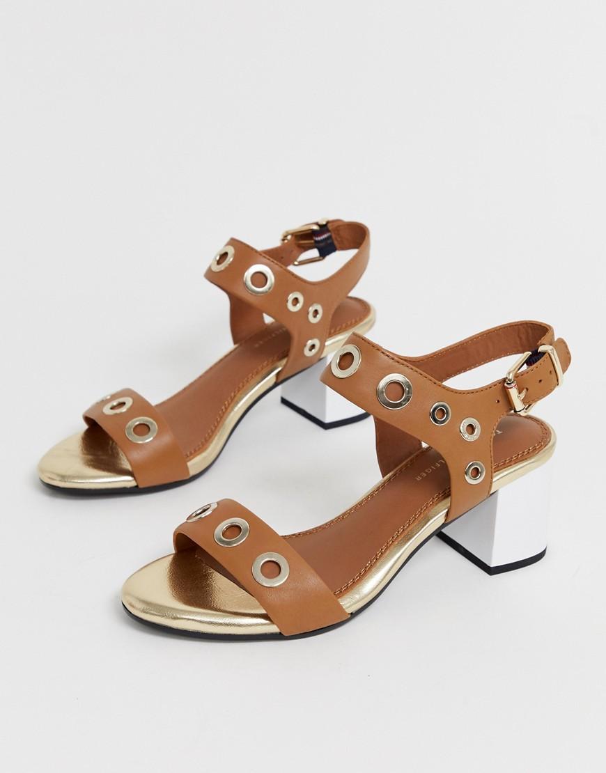 9f7024b1df Tommy Hilfiger Mid Block Heeled Sandals in Brown - Lyst