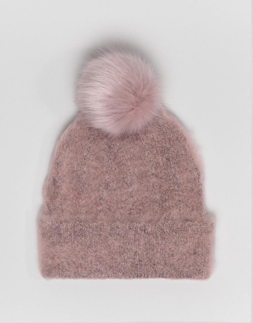 55b4256cc32 Lyst - ASOS Fluffy Beanie With Faux Fur Pom in Pink
