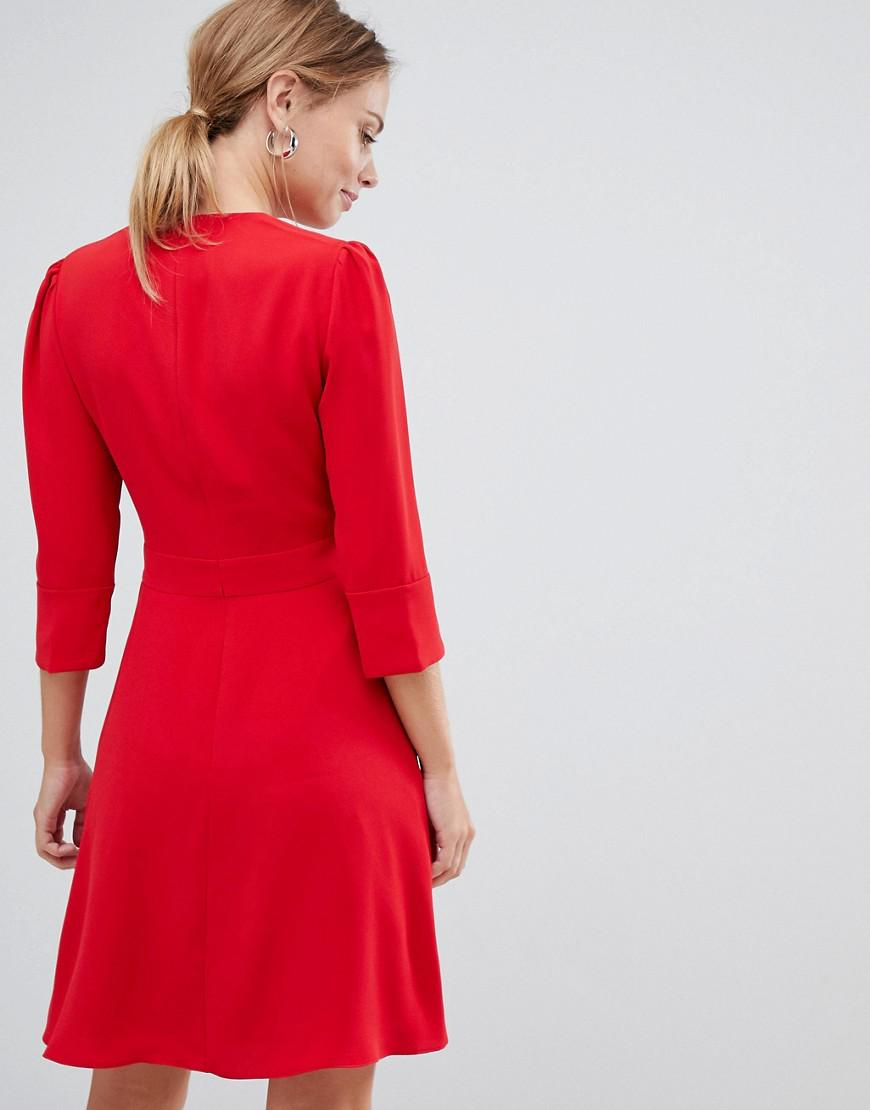 Karen Millen Folded Crepe Dress in Red - Lyst ef42ddbfb
