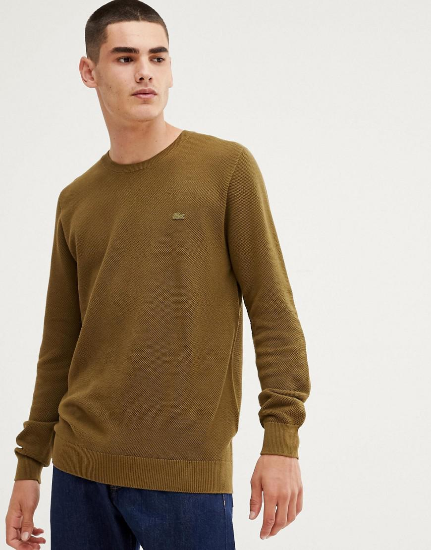 26b41bd01443 Lacoste Crew Neck Lambswool Jumper In Khaki in Green for Men - Lyst
