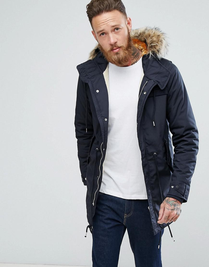 Schott nyc M51 Fishtail Parka Hooded Detachable Faux Fur Trim In ...