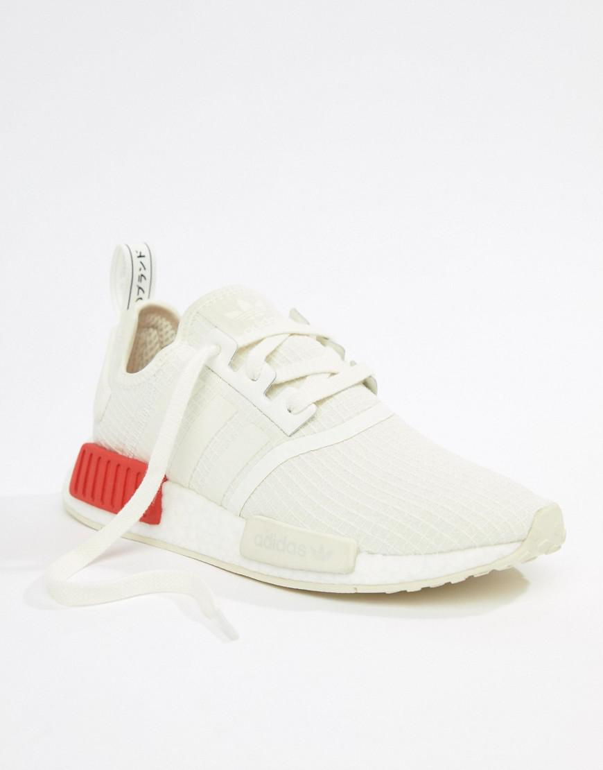 f77332e2be41d8 adidas Originals Nmd R1 Trainers In White With Red Heel Block in White -  Lyst