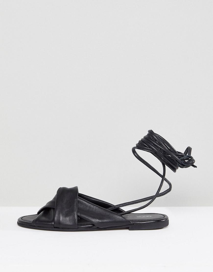 f766fa0e4b6e6 Lyst - ASOS Wide Fit Valley Leather Knotted Tie Leg Flat Sandals in Black