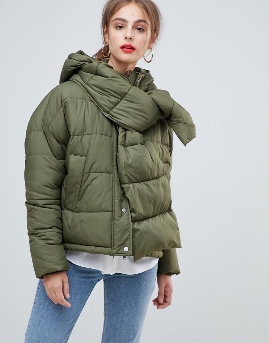 515fb13ccf7 Vero Moda Hooded Padded Jacket With Scarf in Green - Lyst