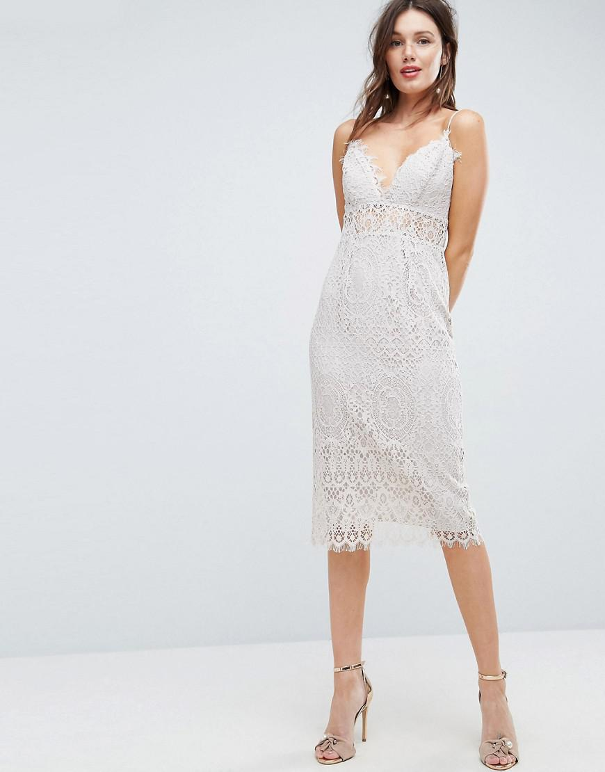 Lace Cami Midi Pencil Dress - Off white Asos Outlet Cheap Online Outlet Exclusive OOtwaIew
