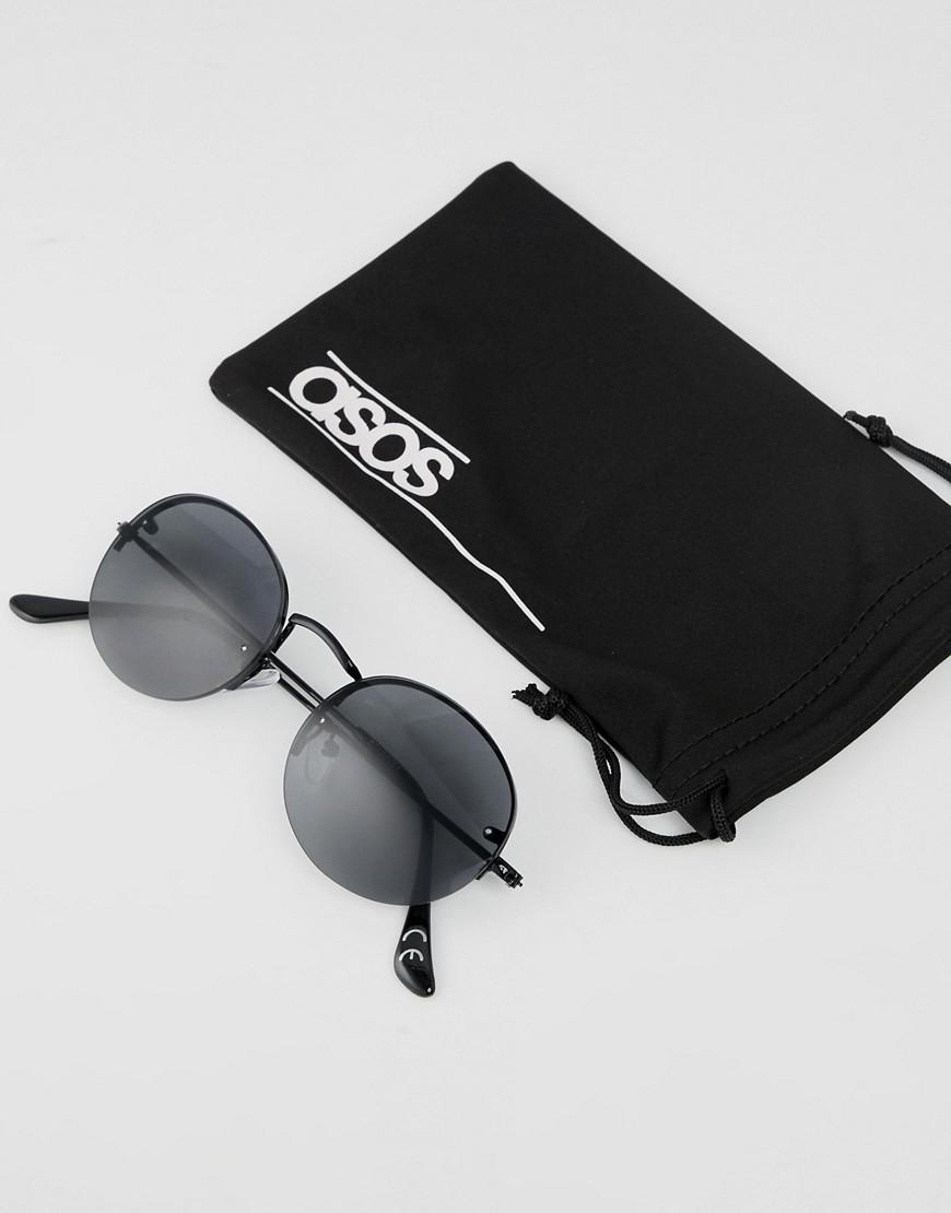 a181a66ecd Lyst - ASOS Round Sunglasses In Black With Laid On Lens in Black for Men