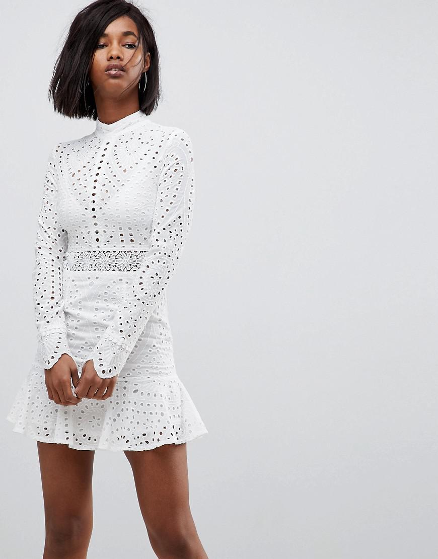 d58769be8b2 Lioness - White High Neck Cutwork Lace Mini Skater Dress - Lyst. View  fullscreen
