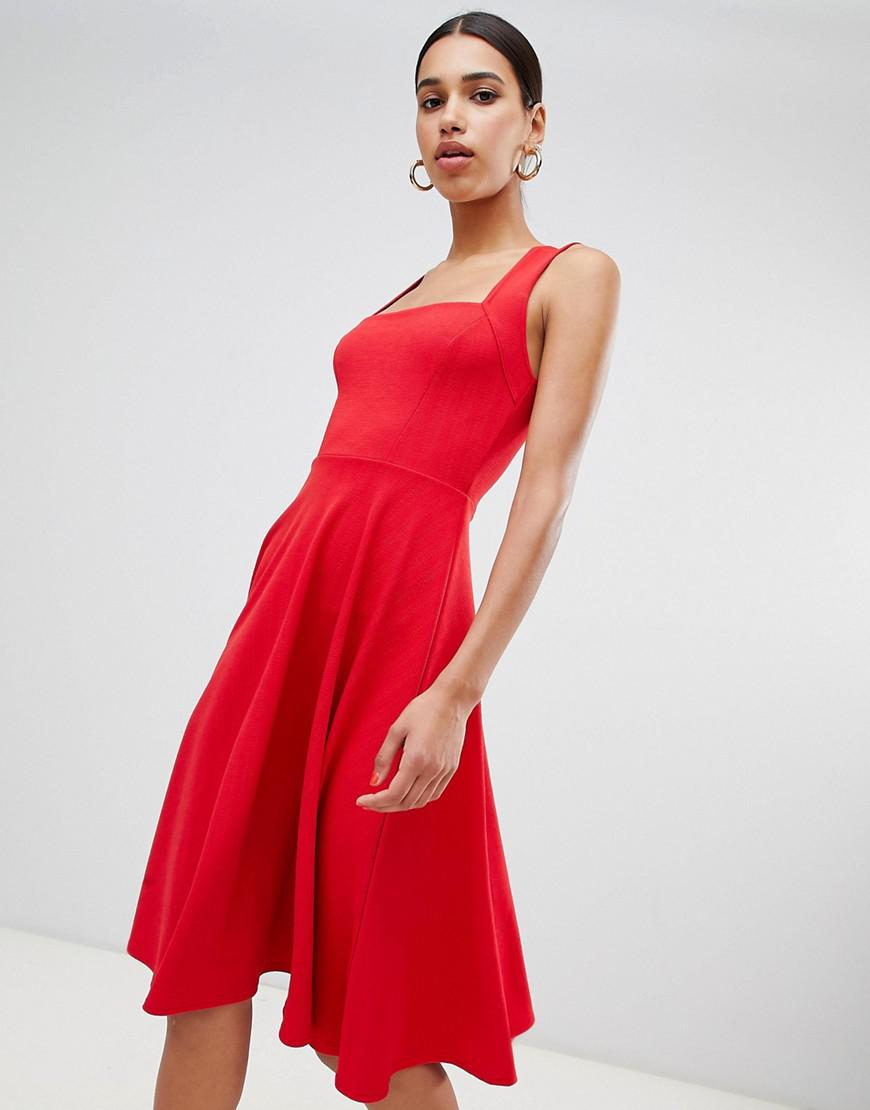 Lyst - Boohoo Square Neck Midi Skater Dress in Red e2a3cfd6a