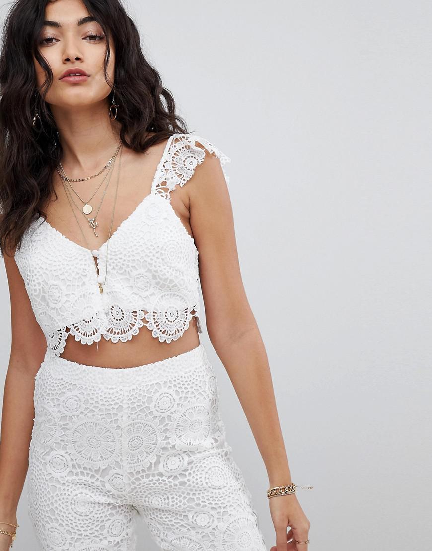fed159a090871 Lyst - ebonie n ivory Crop Top In Crochet Co-ord in White