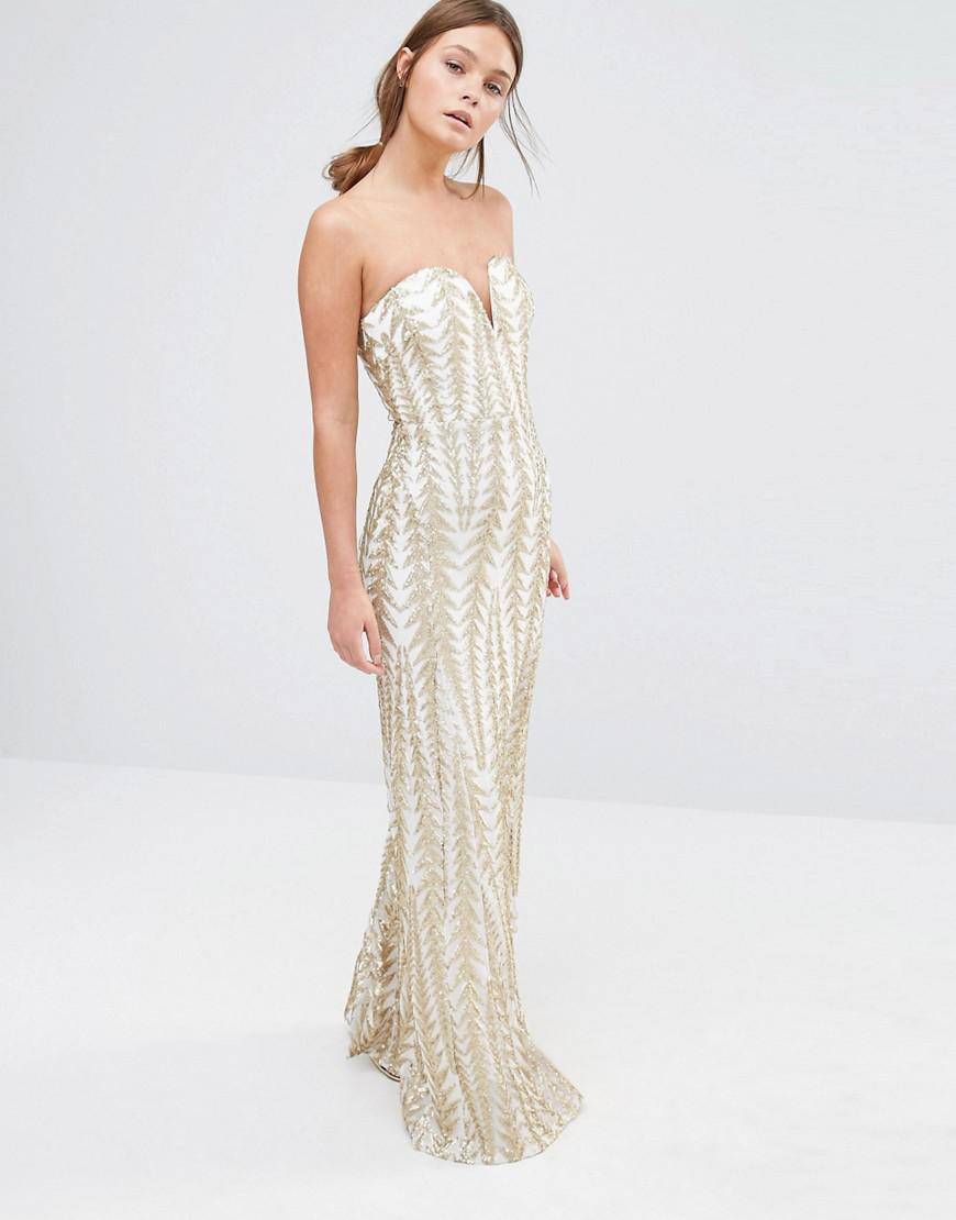 026fd93466 TFNC London Bandeau Sequin Maxi Dress in Metallic - Lyst