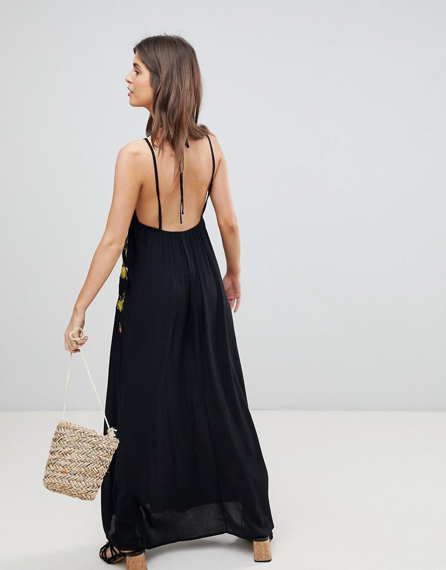 d36a029c488 Lyst - ASOS Fruit Embroidered Maxi Beach Dress in Black