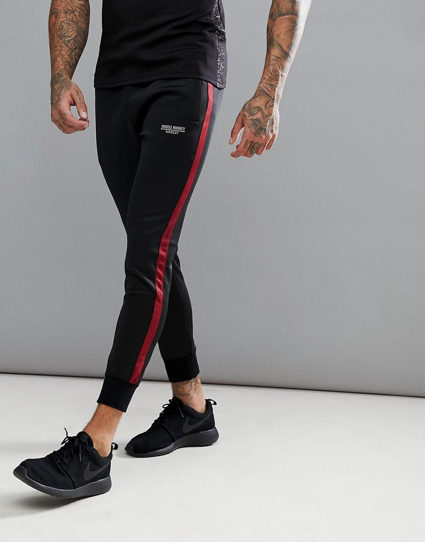 biggest selection attractive designs top-rated original Muscle Monkey Skinny Track Joggers In Black With Red Stripe for men
