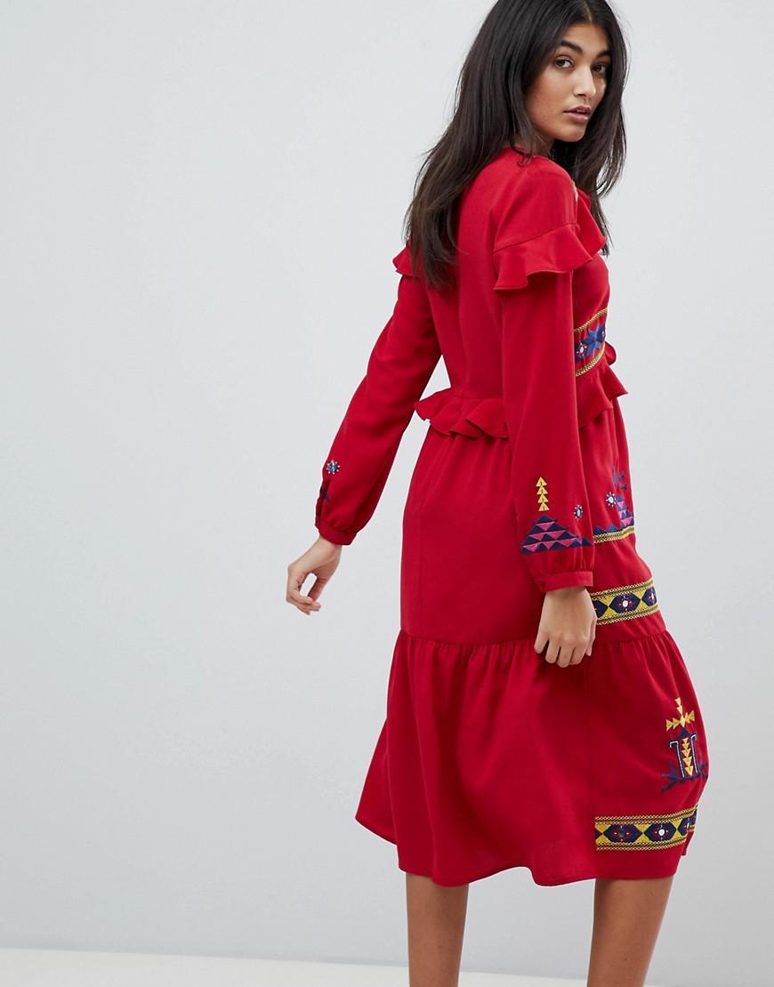 63226e11f78 Lyst - ASOS Premium Geo- Embroidered Midi Ruffle Dress in Red