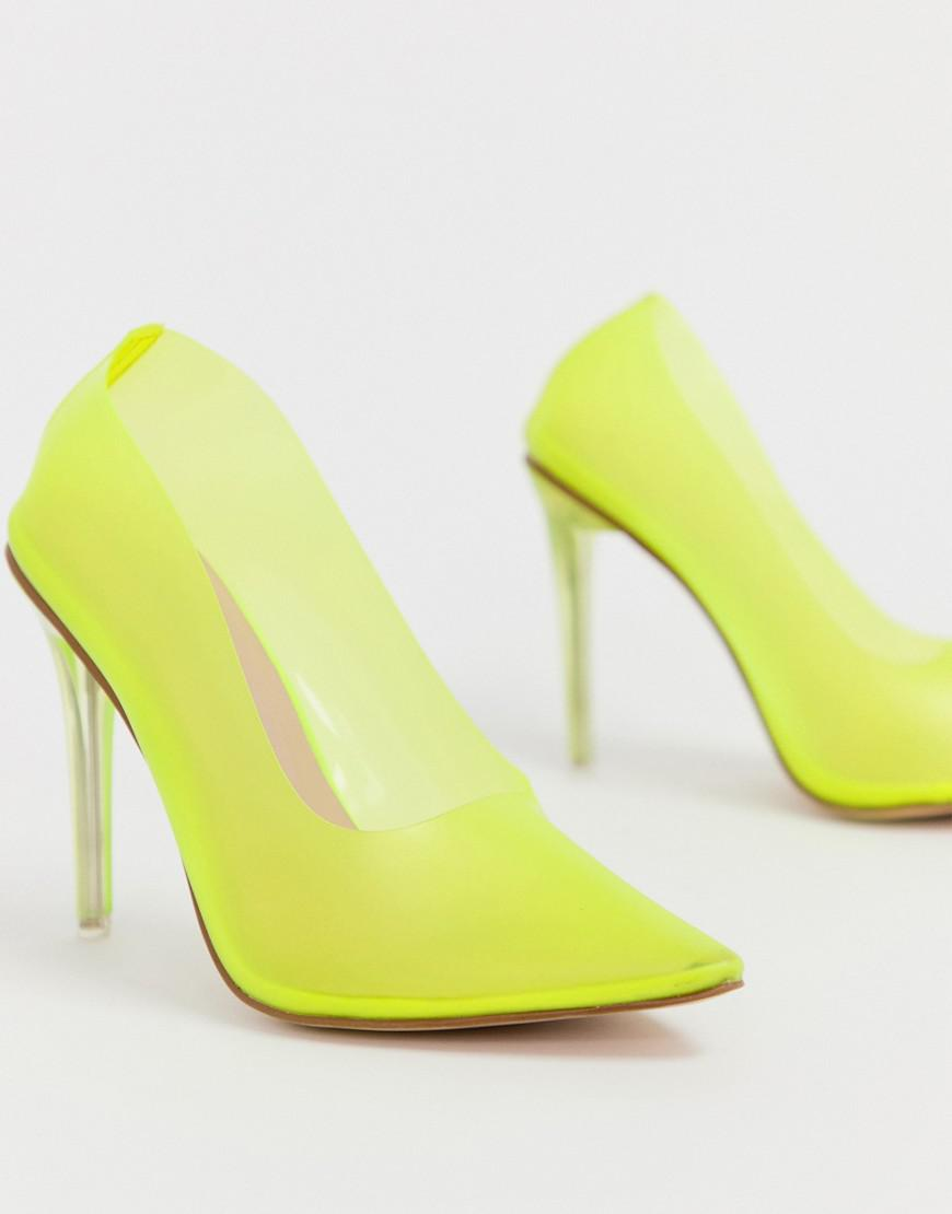 a7502efd69c Public Desire Drank Neon Yellow Clear Court Shoes in Yellow - Lyst