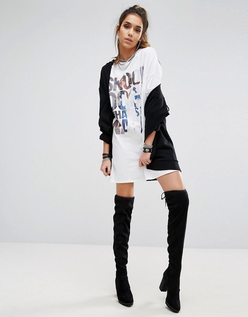 95d25aa9d03 PrettyLittleThing Snoop Dogg T-shirt Dress in White - Lyst