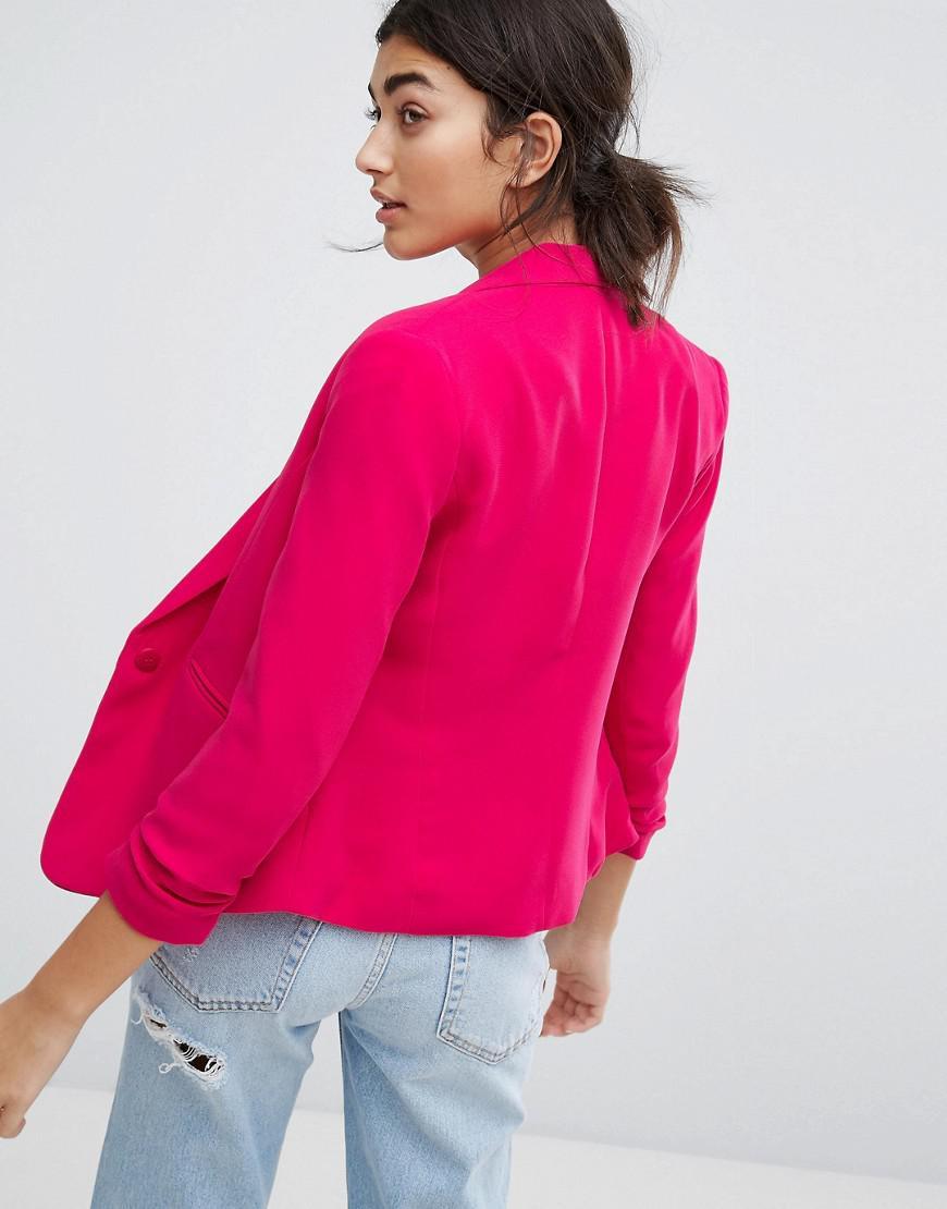 7834fb07e9c48 Bershka Bright Tailored Blazer in Pink - Lyst