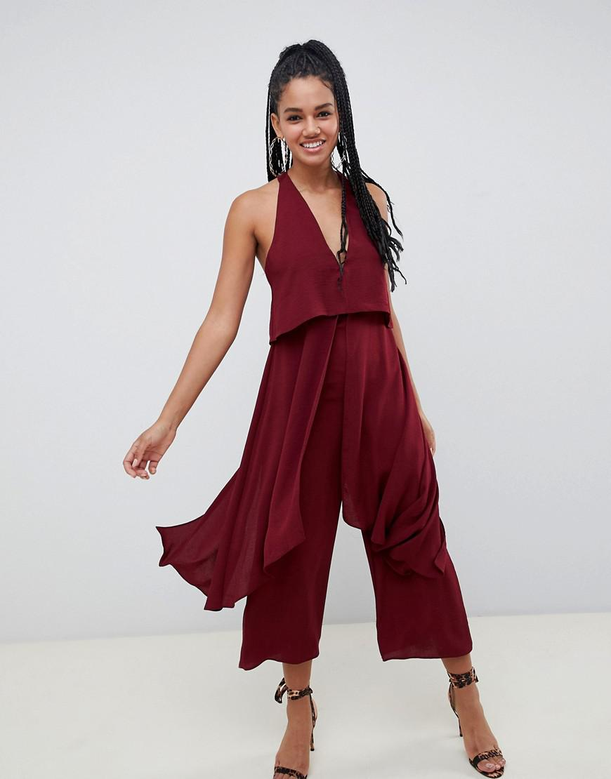 e96320cbb6b5 Lyst - Asos Jumpsuit With Multi Layers in Red