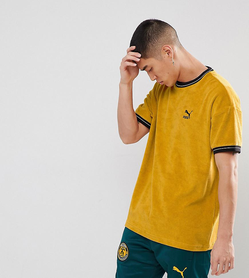 76c1077101b PUMA Towelling T-shirt In Yellow Exclusive To Asos in Yellow for Men ...
