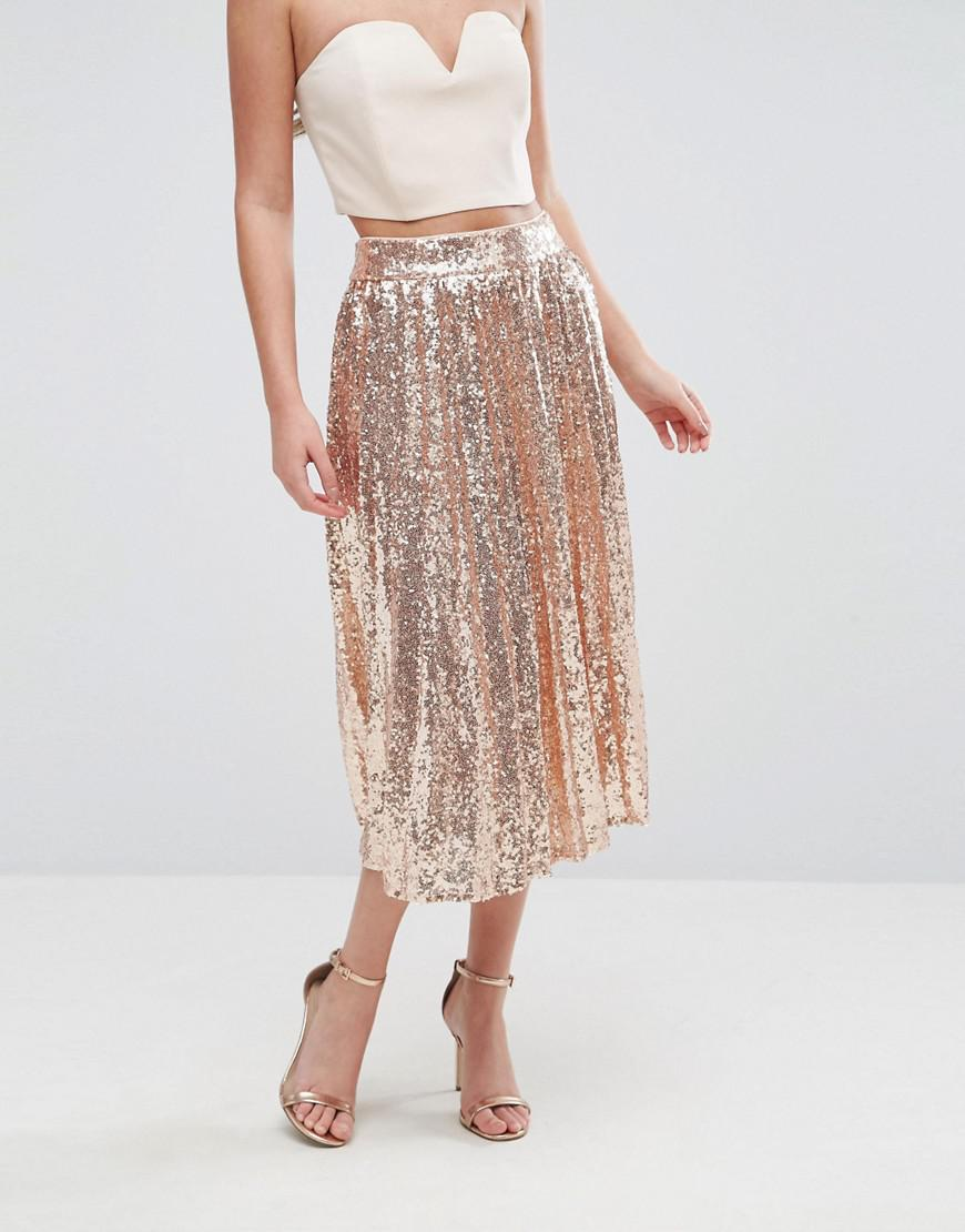 787e9048a7 TFNC London Pleated Midi Skirt In All Over Sequin in Metallic - Lyst